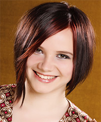 Medium Straight Alternative    Hairstyle with Side Swept Bangs  - Dark Burgundy Brunette Hair Color with  Red Highlights