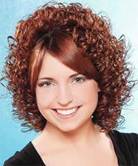 Medium Curly Formal    Hairstyle   -  Brunette Hair Color