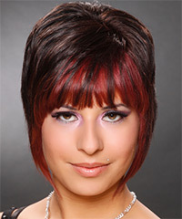 Short Straight Alternative    Hairstyle   - Dark Chocolate Brunette and  Red Two-Tone Hair Color