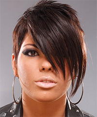 Short Straight Alternative    Hairstyle   -  Chocolate Brunette Hair Color