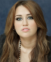 Miley Cyrus Long Wavy Casual    Hairstyle   - Light Brunette Hair Color