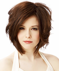 Medium Wavy Casual    Hairstyle   - Chocolate Hair Color