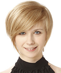Short Straight Formal    Hairstyle with Side Swept Bangs  -  Champagne Blonde Hair Color