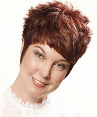 Short Straight Casual    Hairstyle   - Light Auburn Brunette Hair Color