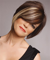 Medium Straight Formal    Hairstyle with Side Swept Bangs  - Dark Mocha Brunette Hair Color with Light Blonde Highlights