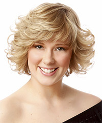Short Curly Formal    Hairstyle with Side Swept Bangs  - Light Blonde Hair Color