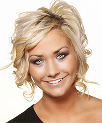 Medium Wavy Formal    Hairstyle   - Light Blonde Hair Color