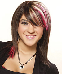 Medium Straight Casual    Hairstyle with Side Swept Bangs  -  Bright Brunette Hair Color