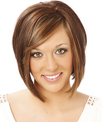 Medium Straight Casual  Bob  Hairstyle with Side Swept Bangs  -  Chocolate Brunette Hair Color with  Blonde Highlights