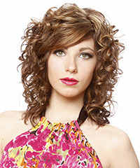 Long Curly Formal    Hairstyle   - Light Chestnut Brunette Hair Color