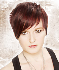 Short Straight Casual    Hairstyle with Layered Bangs  -  Burgundy Red Hair Color