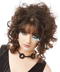 Medium Curly Casual    Hairstyle with Blunt Cut Bangs  -  Brunette Hair Color