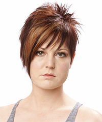 Short Straight Alternative    Hairstyle   -  Auburn Brunette Hair Color
