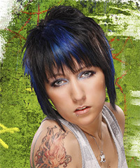 Short Straight Alternative    Hairstyle   - Black Ash  Hair Color with Blue Highlights