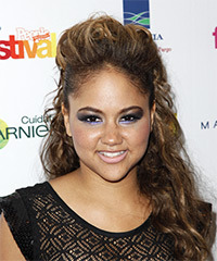 Kat DeLuna  Long Curly Casual   Half Up Hairstyle