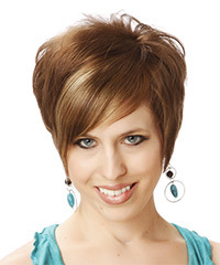 Short Straight Formal    Hairstyle with Side Swept Bangs  - Light Brunette Hair Color with Light Blonde Highlights