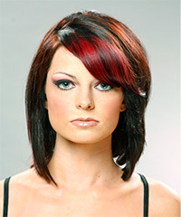 Medium Straight Casual    Hairstyle   - Black Ginger  and  Red Two-Tone Hair Color