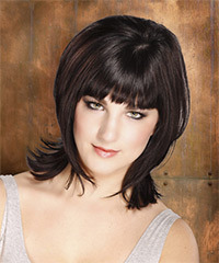 Medium Straight Formal    Hairstyle with Blunt Cut Bangs  - Dark Mocha Brunette Hair Color