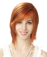 Medium Straight Casual    Hairstyle with Side Swept Bangs  - Light Red Hair Color