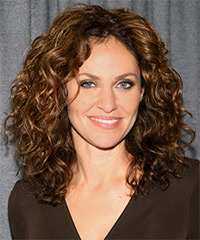 Amy Brenneman Long Curly Casual    Hairstyle   -  Golden Brunette Hair Color