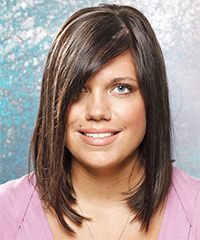 Medium Straight Casual    Hairstyle   - Mocha Hair Color with Light Blonde Highlights