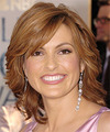 Mariska Hargitay Medium Wavy Formal    Hairstyle with Side Swept Bangs  - Light Red Hair Color