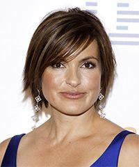 Mariska Hargitay Short Straight Casual    Hairstyle with Side Swept Bangs  - Dark Brunette Hair Color