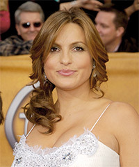 Mariska Hargitay  Long Curly Formal   Updo Hairstyle   -  Honey Brunette Hair Color