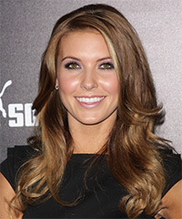 Audrina Patridge Long Wavy Casual    Hairstyle   -  Caramel Brunette Hair Color