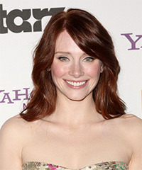 Bryce Dallas Howard Medium Straight Formal  Bob  Hairstyle with Side Swept Bangs  -  Red Hair Color
