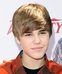 Justin Bieber Short Straight Casual    Hairstyle with Side Swept Bangs  - Light Brunette Hair Color