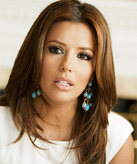 Eva Longoria Parker Long Straight Formal    Hairstyle   -  Auburn Brunette Hair Color
