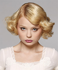 Short Wavy Formal  Bob  Hairstyle   - Light Golden Blonde Hair Color