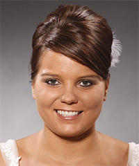 Long Straight Formal   Updo Hairstyle with Side Swept Bangs  -  Chocolate Brunette Hair Color