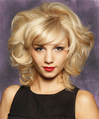 Medium Curly Formal Layered Bob  Hairstyle with Side Swept Bangs  - Light Blonde Hair Color