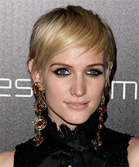Ashlee Simpson Short Straight Casual  Pixie  Hairstyle with Side Swept Bangs  - Light Blonde Hair Color