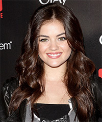 Lucy Hale Long Wavy Formal    Hairstyle   - Chocolate Hair Color