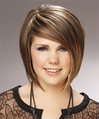 Medium Straight Formal  Bob  Hairstyle with Side Swept Bangs  -  Caramel Brunette Hair Color with Light Blonde Highlights