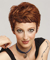 Short Straight Casual Layered Pixie  Hairstyle   -  Auburn Brunette Hair Color