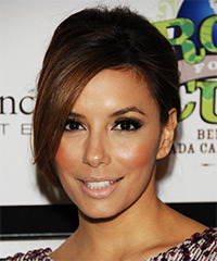 Eva Longoria Parker  Long Straight Formal   Updo Hairstyle with Side Swept Bangs  - Dark Caramel Brunette Hair Color