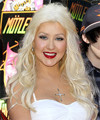 Christina Aguilera  Long Curly Casual   Half Up Hairstyle   - Platinum Hair Color