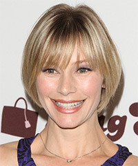 Meredith Monroe Short Straight Casual    Hairstyle with Blunt Cut Bangs  - Light Blonde and  Brunette Two-Tone Hair Color