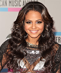 Christina Milian Long Curly Casual    Hairstyle   - Dark Brunette Hair Color