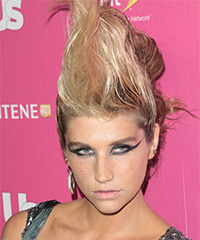 Kesha Medium Wavy Alternative   Updo Hairstyle   - Light Blonde Hair Color with Pink Highlights