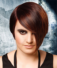 Short Straight Alternative  Pixie  Hairstyle with Asymmetrical Bangs  - Dark Red Hair Color with Orange Highlights