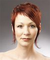 Short Straight Alternative  Pixie  Hairstyle with Side Swept Bangs  - Orange  Hair Color
