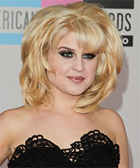 Kelly Osbourne Medium Straight Formal    Hairstyle with Blunt Cut Bangs  - Light Blonde Hair Color