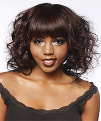 Medium Curly Formal  Bob  Hairstyle with Blunt Cut Bangs  - Mahogany Hair Color