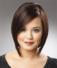 Medium Straight Formal  Bob  Hairstyle   - Black Chestnut  Hair Color