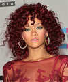 Rihanna Medium Curly    Red   Hairstyle